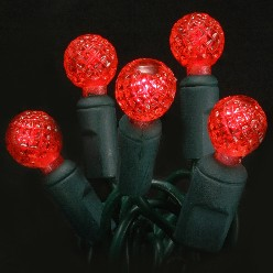 Red G12 faceted LED light string